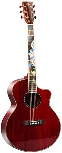 ギター 初心者入門 ギター アコースティックギター木材ベニヤギターレッド20スケール 小学生 大人用 ギター初級 (Color : Red, Size : 41 inches)
