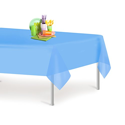 12 Table Covers (Sky Blue 12 Pack Premium Disposable Plastic Tablecloth 54 Inch. x 108 Inch. Rectangle Table Cover By Dluxware)