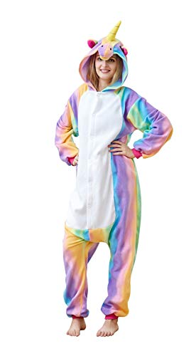 Famycos One-Piece Animal Costumes Pajama for Unisex Family School Cosplay Party Rainbow Unicorn Adult-S