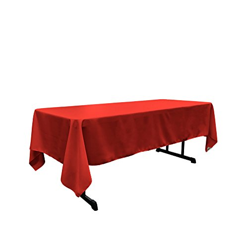"LA Linen Polyester Poplin Rectangular Tablecloth, 60"" x 120"", Red from LA Linen"