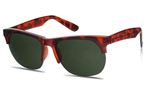 Classic Square Retro Half Frame Horn Rimmed Unisex Sunglasses Clubmaster Inspired 55mm (Red Tortoise, - Red Tortoise Rimmed