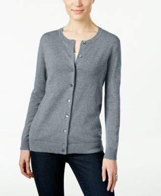 (Karen Scott Womens Petites Button Front Crew Neck Cardigan Sweater Black PXL)