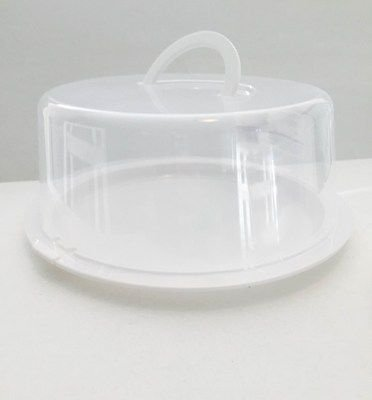 Reusable Lightweight Transparent Cake & Food Carrier with Lift Handle, Set of 3]()