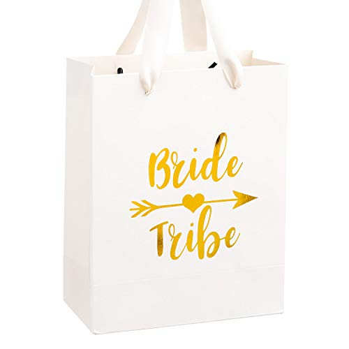 Crisky Bride Tribe Bags for Bachelorette Party, Bridal Shower Bags,Bridesmaid Gift Bags Team Bride Bags, Gold Foil with Beige Handle, Set of 12