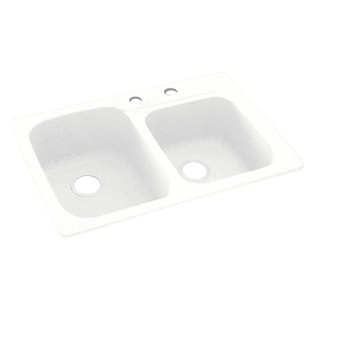 Swaoi|#Swanstone KS03322DB.010-2C 33-In X 22-In Solid Surface Kitchen Sink 2-Hole, White,