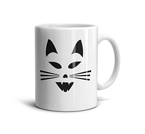 LOUTRTDF Scary Cat Face Halloween Mans and Womens 11oz Coffee Mug Souvenir Mother's Day Cup ()