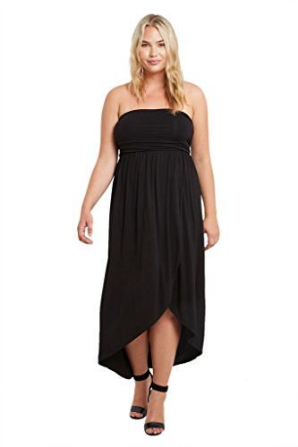 Bottom Tube Dress (Women's Strapless Hi Low Split Tube Wrap Plus Size Maxi Dress USA Black 1XL)