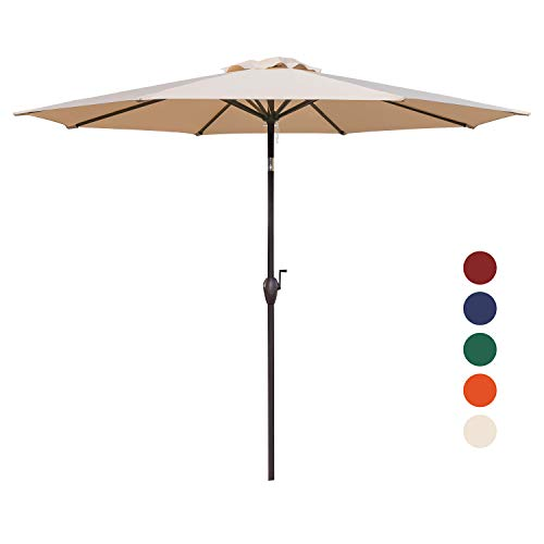 KINGYES 9Ft Patio Table Umbrella Outdoor Umbrella with Push Button Tilt and Crank for Commercial Event Market, Garden, Deck,Backyard Swimming and Pool (Beige) ()