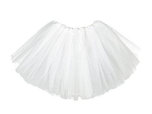 Girls Classic Elastic 3 Layered Tutu Ballet Soft Tulle Costume Skirt (2 - 9 Years, Classic-White)