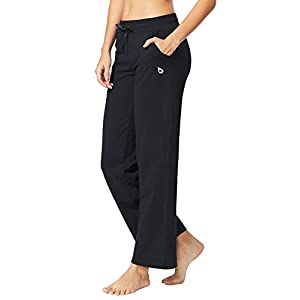 Baleaf Women's Activewear Drawcord Yoga Lounge Pants With Pockets Black Size XXL