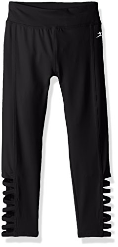 Danskin Big Girls' Cutout Ankle Cropped Legging, Deep Black, X-Small (Danskin Cropped Leggings)