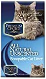 Premium Choice All Natural Unscented Scoopable Cat Litter, 25 Pound Bag by Premium/Cat Tails Litter