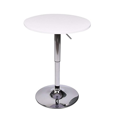 Morden Round Bar Tables - MDF Wood Top Table Chrome Base Pub Table - Gas Lift Height Adjustable - 360 Degree Swivel - Bistro Indoor Dinning Room Outdoor (White) by YOURLITE