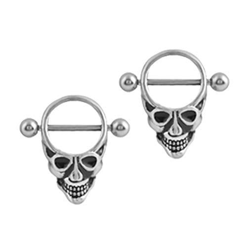 - 2pcs Vintage Punk Stainless Steel Skull Head Body Piercing Barbell 14 Gauge