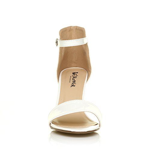 ShuWish UK PAM White Patent Ankle Strap Barely There High Heel Sandals i3tcQ3ESP