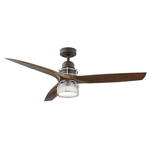 - KICHLER 54-in Satin Natural Bronze with Brushed Nickel Accents LED Indoor Downrod Mount Ceiling Fan with Light Kit and R