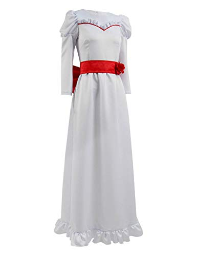 Xiao Maomi Women Girls Long Dress Annabelle Cosplay Costume Horror Scary Horrible Movie Clothing for Halloween (Girls 4, White) ()