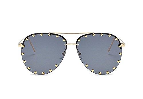Embellished Stud - Flowertree SJR-A05 Rimless Half Frame Stud Embellished Aviator Sunglasses (black)