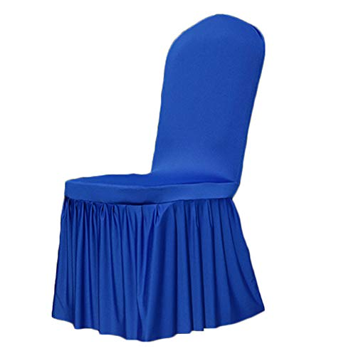 Slipcover Chair Dining Skirted - Cratone Slipcovers Chair Covers Pleated Skirt Seat Pads Removable Washable Spandex Fabric Protect Your Furniture 1Piece (Blue)