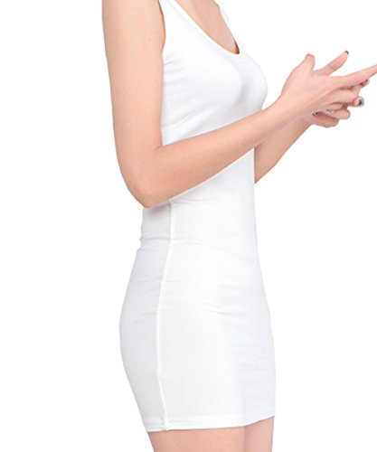 FACE Scoop Summer Dress Sleeveless White Mini N FACE Women's Neck Classic Bodycon Tank AqpRw65x