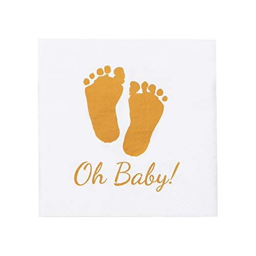 Oh Baby 100 Premium Baby Shower Napkins, Glam Baby Shower Decorations for Boy Girl, Gender Reveal Party Supplies, Soft and Durable 3 Ply Paper with Free Digital Guide on Tips for Photographing Babies Boy Digital Photo Announcement
