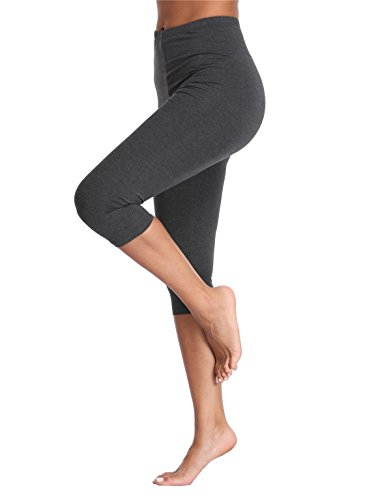 (Kotii Women's Lightweight Soft Capri Leggings Crop Leggings 3/4 Stretch Yoga Pants)