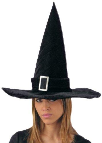 Cappello strega in velluto nero per adulti festa di Halloween ... bfd93f89f1d6