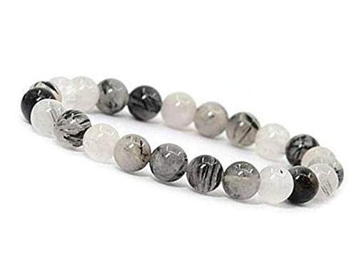 (Manifestation Bracelet- Handmade Natural Black Rutile Bracelet - Natural Stone Yoga Bracelet - Gemstone Beaded Stretch Bracelet 8mm - Stone Bracelet)