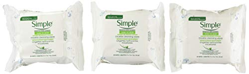 Simple Micellar Makeup Remover Wipes 25 Count (3 Pack)