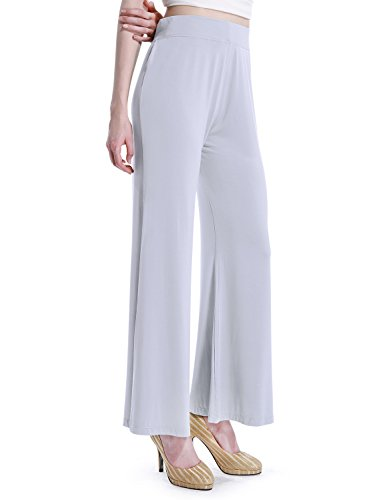 David Archy Women's Bamboo Fiber Comfy Palazzo Lounge Pant(XL,Light Gray)