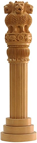 CraftVatika Large Wooden Ashoka Pillar - Ashoka Stambh Indian National Emblem - National Symbol Ashok Stambh Idol Gift - Ideal Office & Home Decor Showpiece 18