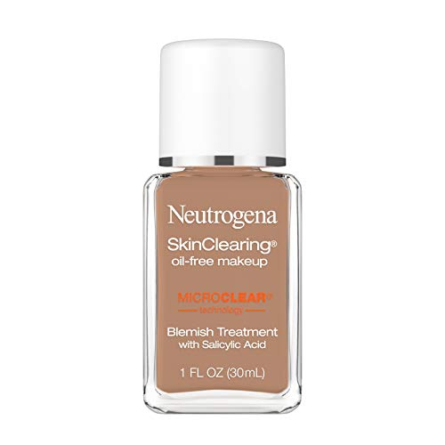 Neutrogena SkinClearing Oil-Free Acne and Blemish Fighting Liquid Foundation with Salicylic Acid Acne Medicine, Shine Controlling, for Acne Prone Skin, 135 Chestnut, 1 fl. oz