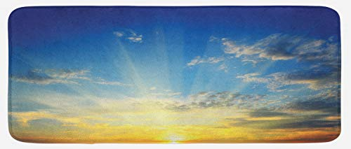 Lunarable Yellow and Blue Kitchen Mat, Beaming Sun Above The Horizon Majestic Sky Sunrise Serene Morning, Plush Decorative Kithcen Mat with Non Slip Backing, 47 W X 19 L Inches, Orange Yellow