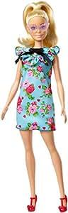 Barbie Fashionista, muñeca 32cm, look vestido floral retro con cabello rubio (Mattel FJF52)