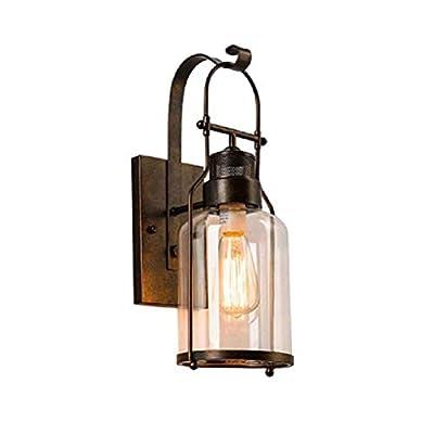 Vintage Glass Wall Lamp,Wall Lantern Retro Bronze Light