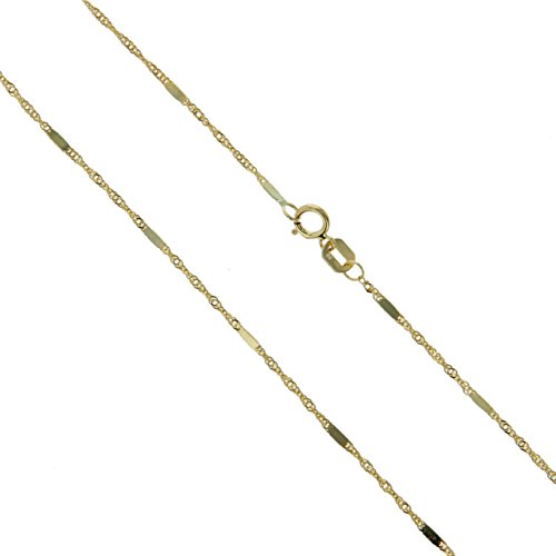 10k Yellow Gold Solid Singapore Bar Chain Rope Twisted Curb Link 1.1mm Necklace (Yellow Gold Bar Link Chain)