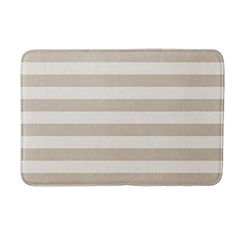 (Yesstd Absorbent Super Cozy Bath Mat Doormat Welcome Mats Indoor/Outdoor Bath Floor Rug Decor Art Print with Non Slip Backing Beige and Ivory Stripes Modern Farmhouse (24