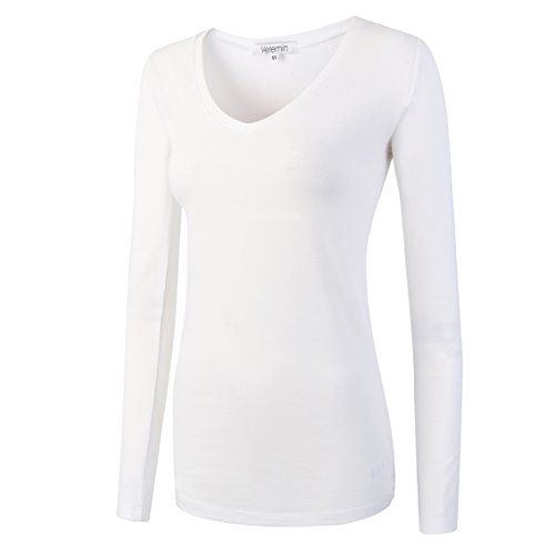 Vetemin Women Basic Fitted Soft Lightweight Long Sleeve Deep V Neck T shirt Tee White M