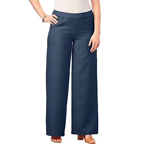 Roamans Women's Plus Size Bend Over Wide-Leg Pant - Navy, 18 W
