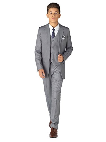 - Paisley of London, Philip Dove Grey Suit, Boys Formal Occasion Suit, Kids Slim-Fit Suit, 16