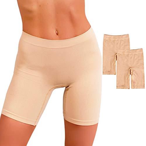 EVARI Women's Seamless Slip Shorts Ultra Soft Boy Shorts Panties (Beige, Large) -