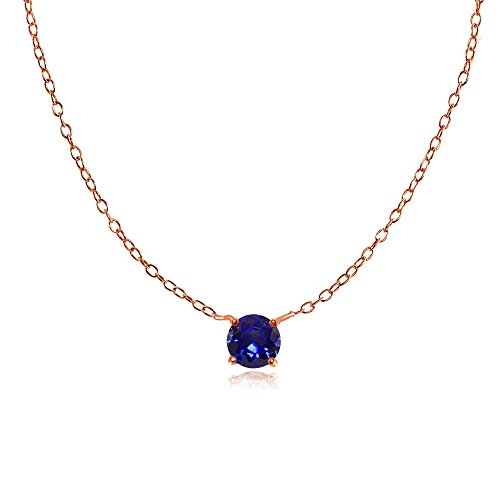 erling Silver Small Dainty Round Created Blue Sapphire Choker Necklace ()