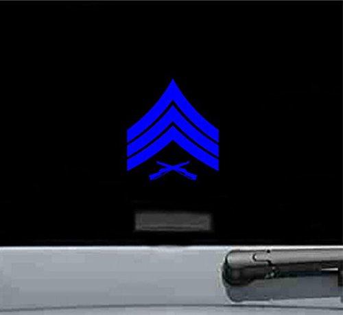 (USMC E 5 Sergeant Rank Insignia Rank Military Army Us Marines Corp Vinyl Decal Sticker (BLUE))