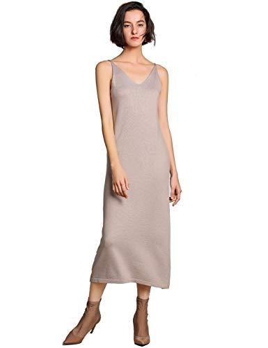 Spring Summer Dresses 2019 Women Cashmere Soft Elegant Knit V-Neck Spaghetti Strap Slim Sexy Long Bodycon Dress Midi (1516 Camel, S)