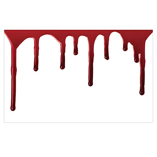 iPrint 3D Floor/Wall Sticker Removable,Horror,Flowing Blood Horror Spooky Halloween Zombie Crime Scary Help me Themed Illustration,Red White,for Living Room Bathroom Decoration,35.4x23.6 -