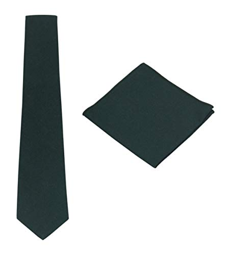 - Various Solids Mens Linen Tie Set:Necktie + Pocket Square (Dark Green)