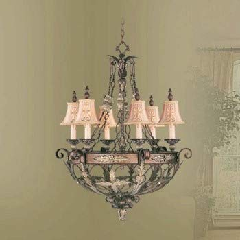 Livex Lighting 8846-64 Pamplona - Six Light Chandelier, Palacial Bronze with Gilded Accent Finish with Hand Embroidered Shade ()