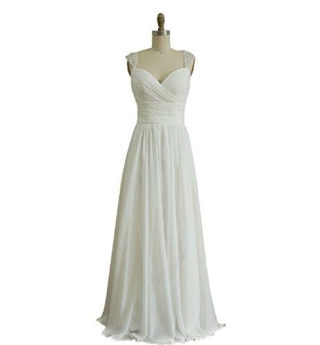 Zlass Chiffon Wedding Dress/bridesmaid Dress/prom Dress Beaded Cap Sleeves Dress (8, Ivory)