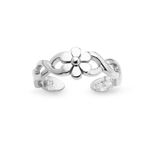 (Sterling Silver Single Nature Inspired Big Petal Flower Open Ended Band Adjustable Toe Ring)