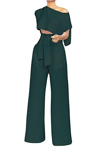 VLUNT Women's 2 Pieces Jumpsuits Outfit Crop Top Wide Leg Pants with Belt,Dark Green-M by VLUNT (Image #1)